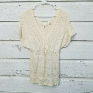 Knitted & Knotted Anthropologie Ivory Sweater